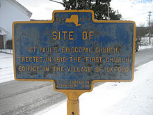 Site of St. Paul's Episcopal Church, Oxford, NY
