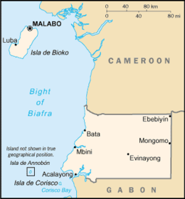 Mapa de República da Guiné Equatorial
