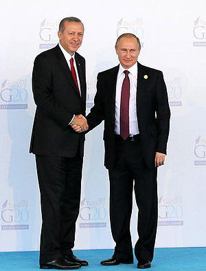 2015 Russian Sukhoi Su-24 shootdown - Erdoğan (left) and Putin at the G-20 summit in Antalya on 15 November 2015