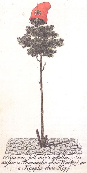 Atlantic Revolutions - A tree of liberty topped with a Phrygian cap set up in Mainz in 1793. Such symbols were used by several revolutionary movements of the time.