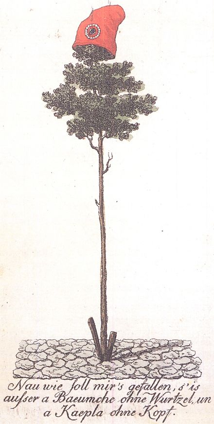 A tree of liberty topped with a Phrygian cap set up in Mainz in 1793. Such symbols were used by several revolutionary movements of the time. Erster Freiheitsbaum Mainz.jpg