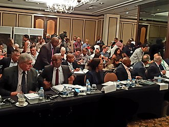 Eskom - Eskom executives including Phakamani Hadebe (CEO), front row second from the left, at a 2019 public forum in Cape Town on Eskom's financial situation.