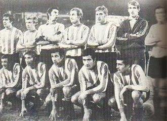 Copa Libertadores (trophy) - Estudiantes de La Plata after winning a third consecutive title in 1970.