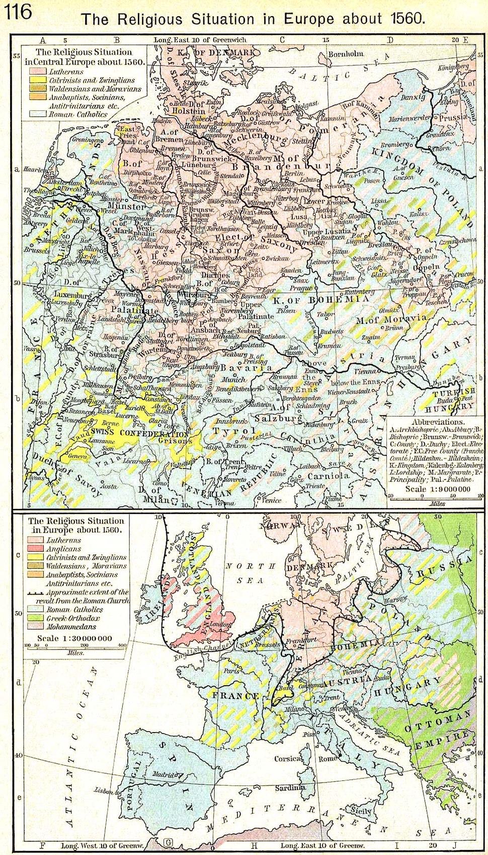 Europe religions 1560