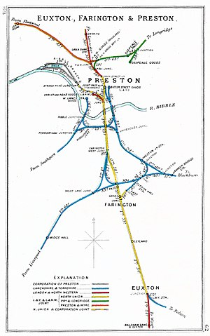 West Lancashire Railway - Railway Junction Diagram of railways around Preston in 1913