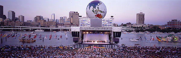 Panoramic view of the stage and Brisbane River during World Expo 88