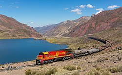 The train from Lima to La Oroya between Chinchan and the Ticlio pass
