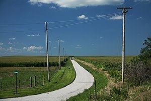 Farm road in Champaign County, Illinois Españo...