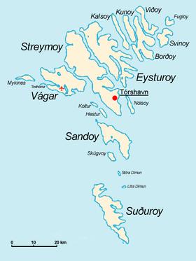 Carte des îles Féroé.