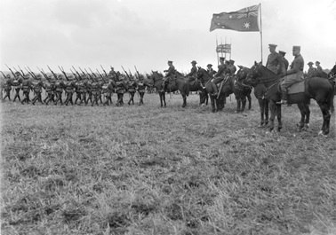 Field Marshal Haig inspects the Australian 5th division