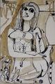 Figura di donna con cane - 1960 - China acquerellata su carta - 29x43 cm.tif