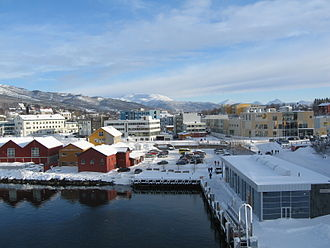 Finnsnes - View of the town in winter