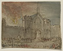 View of the frontage of Parliament on fire, done in watercolour by John Constable. Fire engines are seen in front of the building, with crowds shown at the outside of the image.