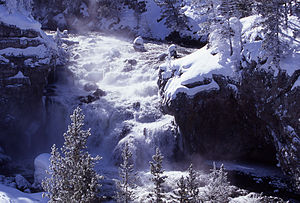 Firehole Falls - Image: Firehole Fall Winter 1998