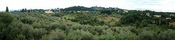 Aperçu d'un paysage toscan depuis les jardins de Boboli à Florence