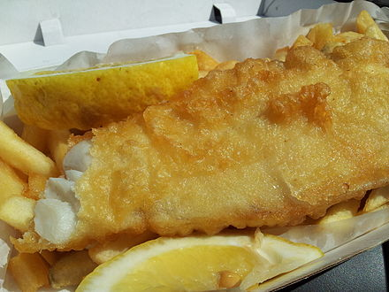 Typical serving of fish and chips Fish and Chips Ocean Foods Drummoyne.jpg