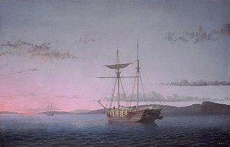 Luminism (American art style) - Image: Fitz Henry Lane, Lumber Schooners at Evening on Penobscot Bay, 1863, NGA 57611