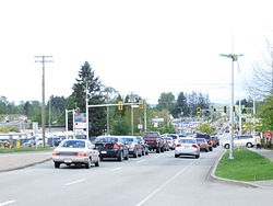 An East facing view of Downtown Fleetwood along Fraser Highway & 160 Street
