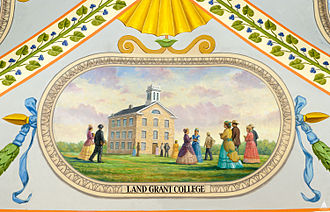 Kansas State University - The college circa 1860s, from a mural at the U.S. Capitol