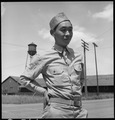 Florin, California. This American soldier of Japanese ancestry is shown at the railroad station of a . . . - NARA - 537854.tif