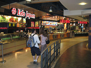 Food court indoor plaza or common area within a facility that provides a common area for self-serve dinner
