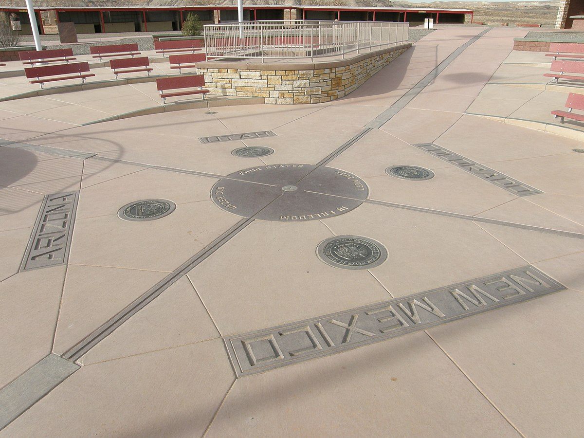 Four Corners Monument Wikipedia - Us map 4 corners