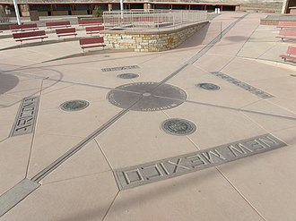 Washington meridians - Four Corners Monument 32° west of Washington Meridian, after 2010 reconstruction.