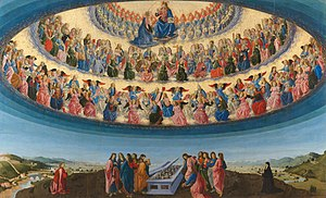 Heaven - The Assumption of the Virgin by Francesco Botticini at the National Gallery London, shows three hierarchies and nine orders of angels, each with different characteristics.