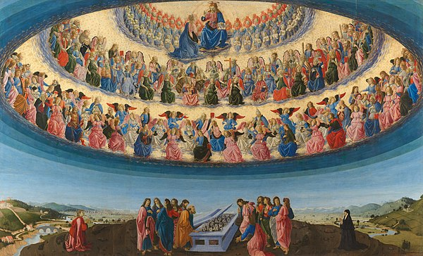 The Assumption of the Virgin, 1475-76, by Francesco Botticini (National Gallery London), shows three hierarchies and nine orders of angels, each with different characteristics. Francesco Botticini - The Assumption of the Virgin.jpg
