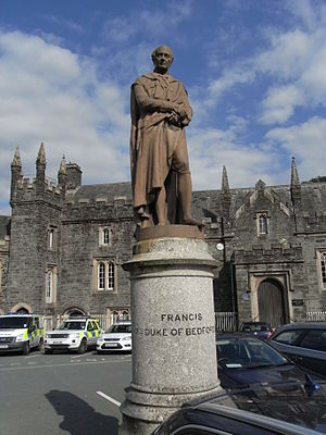 Edward Bowring Stephens - Statue of Francis Russell, 7th Duke of Bedford by E. B. Stephens, before the Magistrate's court, Tavistock. Erected by public subscription, 1864
