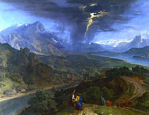 Francisque Millet - Image: Francisque Millet mountain landscape with lightning