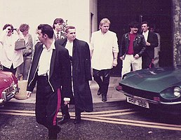 Frankie Goes to Hollywood in 1985. Front to back: Rutherford, Johnson, Nash, Gill, O'Toole