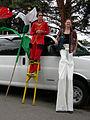 Fremont Solstice Parade 2007 - stilt walkers relax 01.jpg