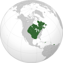 Image of a globe centered on New France, with New France highlighted.
