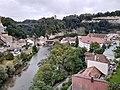 Fribourg - pont de Berne, pont du Gottéron, Tour de Dürrenbühl, La porte-tour de Berne, rivière la Sarine.jpg