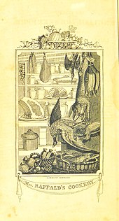 Decorative frontispiece showing a well-stocked larder, with hams and game hanging, and shelves with puddings, joints and pies