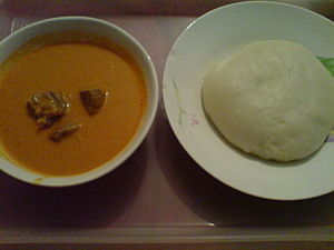 African cuisine - Fufu (right) is a staple food of Central Africa, pictured with some peanut soup.