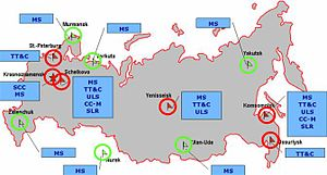 GLONASS - Map depicting ground control stations