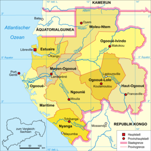 Ngounié River - The Ngounié River flows through southwest-central Gabon, flowing through Mouila