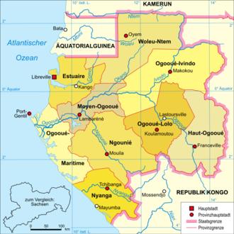 Ngounié River - The Ngounié River flows through southwest-central Gabon, flowing through Mouila