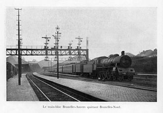 History of rail transport in Belgium - A train to Antwerp leaving the Brussels-North station in the 1920s