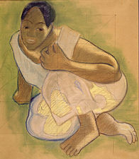 Gauguin - Kauerndes Mädchen von Tahiti - 1892.jpg