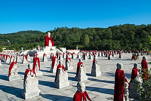 Arhat - Gautama Buddha statue and 500 arhats at the courtyard of Shanyuan Temple (善缘寺), Liaoning Province, China.