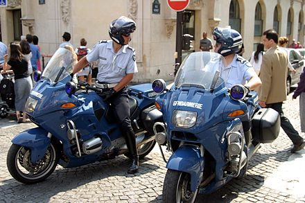 Police (Gendarmerie) motorcyclists in Paris Gendarmerie BMW R1100RT.jpg