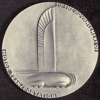 Norman Bel Geddes - Image: General Motors 25th anniversary medal Norman Bel Geddes 1933