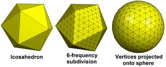 Geodesic polyhedron - Image: Geodesic icosahedral polyhedron example