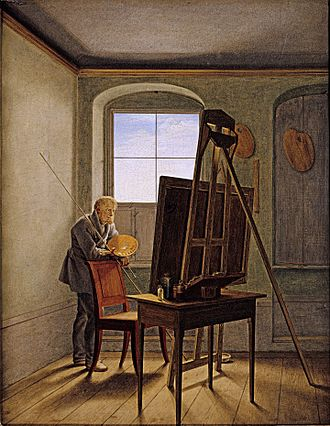 Maulstick - Georg Friedrich Kersting's studio portrait of Caspar David Friedrich (1819) shows the painter holding a maulstick.