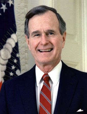 Presidency of George H. W. Bush - Official portrait of George H. W. Bush.
