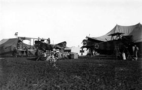 German AEG C.IV aircraft being assembled at Jenin c1917.jpg