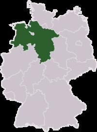 Mapa de Alemania resaltando el estado de Baja Sajonia